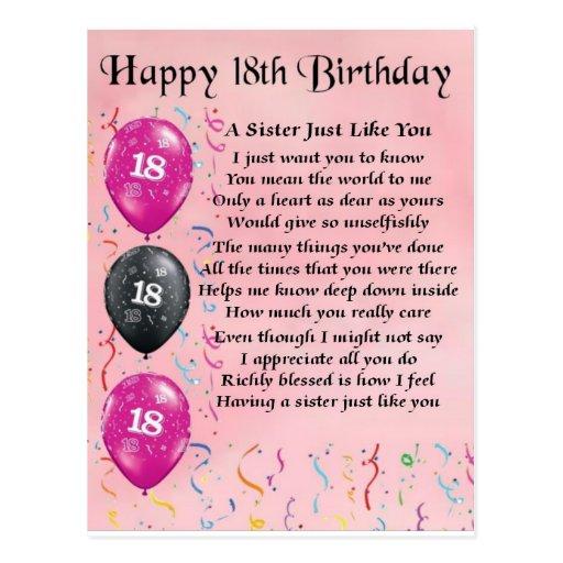 Happy 18th Birthday - Sister Poem Postcard | Zazzle
