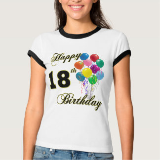 Happy 18th Birthday T-Shirt with Balloons