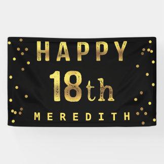 Happy 18th Faux Gold Foil Confetti Black Banner