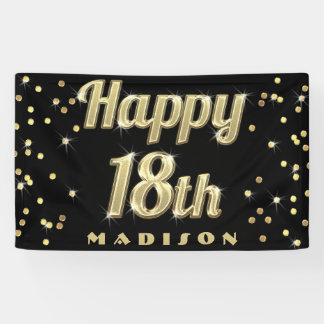 Happy 18th Gold Bling Typography Confetti Black Banner