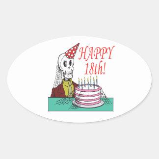 Happy 18th oval sticker
