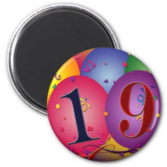 Happy 19th birthday magnet