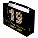 [ Thumbnail: Happy 19th Birthday & Merry Christmas, Custom Name Gift Bag ]