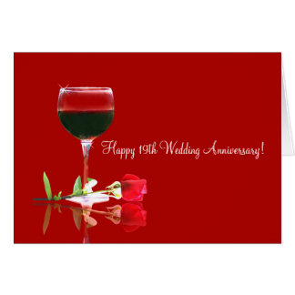Hy 19th Wedding Anniversary Card With Wine