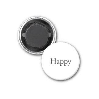 Happy 1 Inch Round Magnet