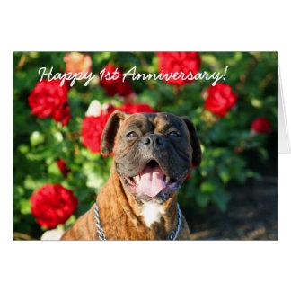 Happy 1st Anniversary Boxer Dog Greeting Card