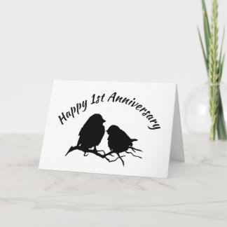 Happy 1st Anniversary Cute Bird Couple Silhouette Card