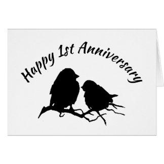 Happy 1st Anniversary Cute Bird Couple Silhouette Card