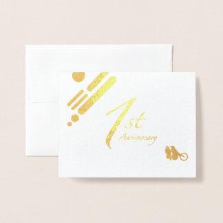 Happy 1st Anniversary Mod Birds Foil Card