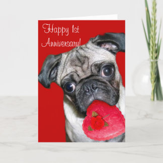 Happy 1st Anniversary pug greeting card