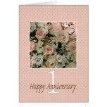 Happy 1st Anniversary roses Greeting Card