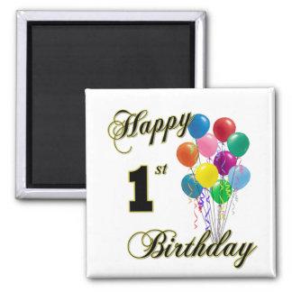 Happy 1st Birthday 2 Inch Square Magnet