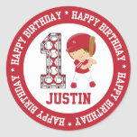 Happy 1st Birthday Baseball Batter Red Classic Round Sticker