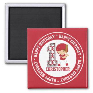 Happy 1st Birthday Baseball Batter Red 2 Inch Square Magnet