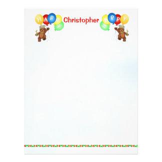 "Happy 1st Birthday Bear Scrapbook Paper 3 8.5"" X 11"" Flyer"
