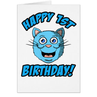 Happy 1st Birthday Blue Cat Card