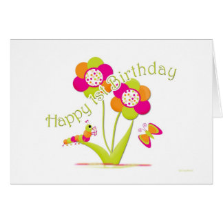 Happy 1st Birthday Caterpiller - Butterfly Card