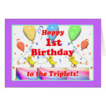 Happy 1st Birthday Chickens for Triplets Greeting Cards