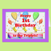 Happy 1st Birthday Chickens for Triplets Card