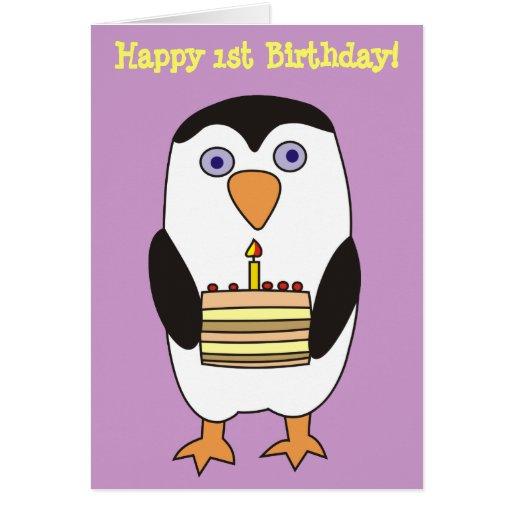 Happy 1st Birthday Cute Penguin Card