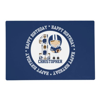 Happy 1st Birthday Football Player Blue Laminated Place Mat