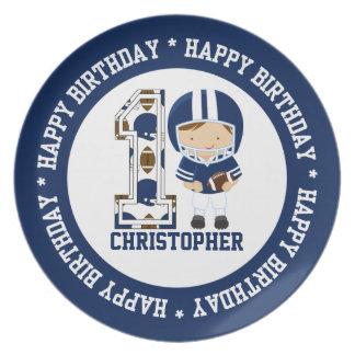 Happy 1st Birthday Football Player Blue Dinner Plate