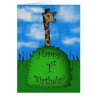 Happy 1st Birthday Giraffe Card, cute Card