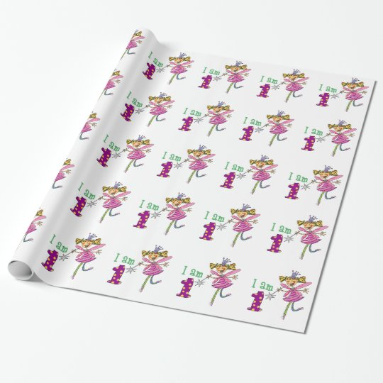 Happy 1st birthday girl (pink princess fairy) wrapping paper
