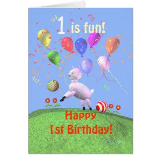 Happy 1st Birthday Lamb and Balloons Greeting Card