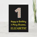 [ Thumbnail: Happy 1st Birthday & Merry Christmas, Custom Name Card ]