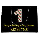 [ Thumbnail: Happy 1st Birthday & Merry Christmas, Custom Name Gift Bag ]