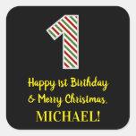 [ Thumbnail: Happy 1st Birthday & Merry Christmas, Custom Name Sticker ]
