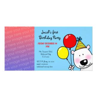 Happy 1st birthday party invitations photo card