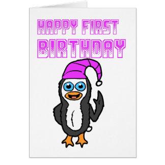 Happy 1st Birthday Penguin Card