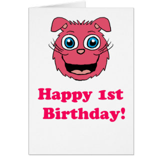 Happy 1st Birthday Pink Cat Card