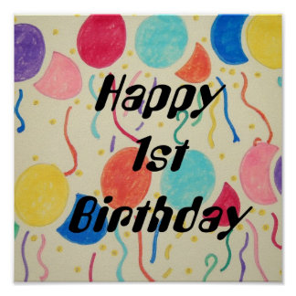 Happy 1st Birthday Print