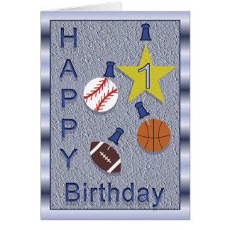 Happy 1st Birthday Sports Themed Card