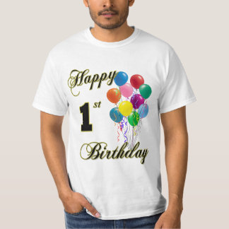 Happy 1st Birthday T-Shirt with Balloons