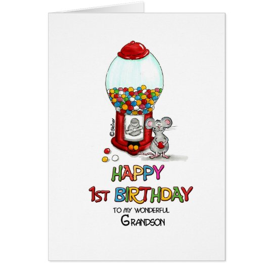 Happy 1st Birthday to my wonderful Grandson Card