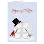 Happy 1st Christmas, snow couple, snowflakes Greeting Card