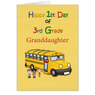 Happy 1st Day of 3rd Grade, Granddaughter, School Card