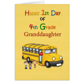 Happy 1st Day of 4th Grade, Grandson, School Bus Card