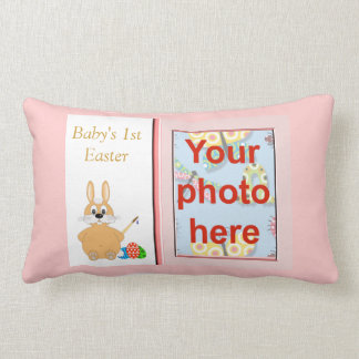 Happy 1st Easter with bunny add photo add name Throw Pillow