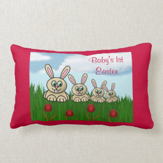 Happy 1st Easter with rabbit family add name Throw Pillow