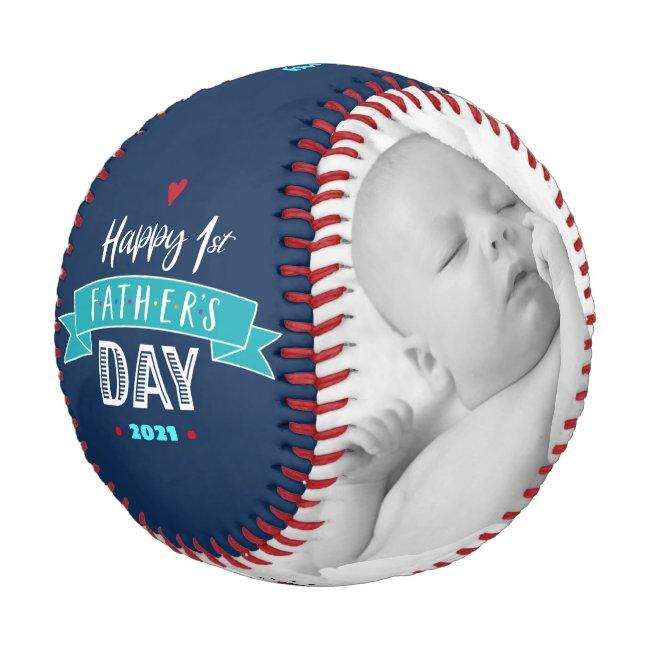Happy 1st Father's Day Bold Typography Aqua Navy Baseball
