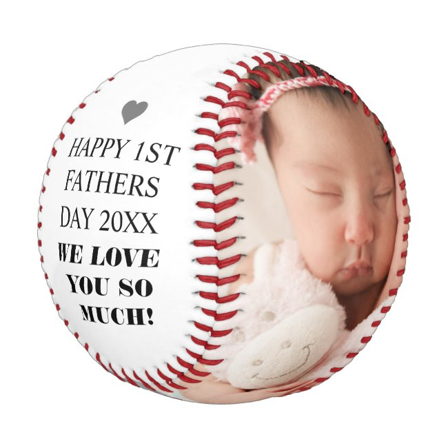 Happy 1st Father's Day Family Photo Baseball