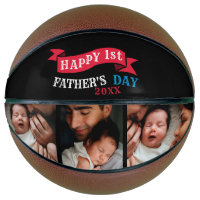 Happy 1st Father's Day Photo Collage Typography Basketball