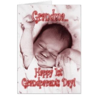 Happy 1st Grandparents Day Grandma - Baby Girl Greeting Card