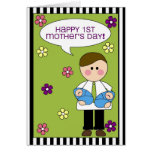 happy 1st mother's day (boy twins) card