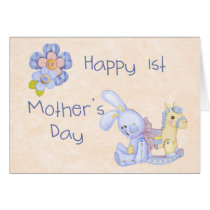 Happy 1st Mother's Day Card Blue